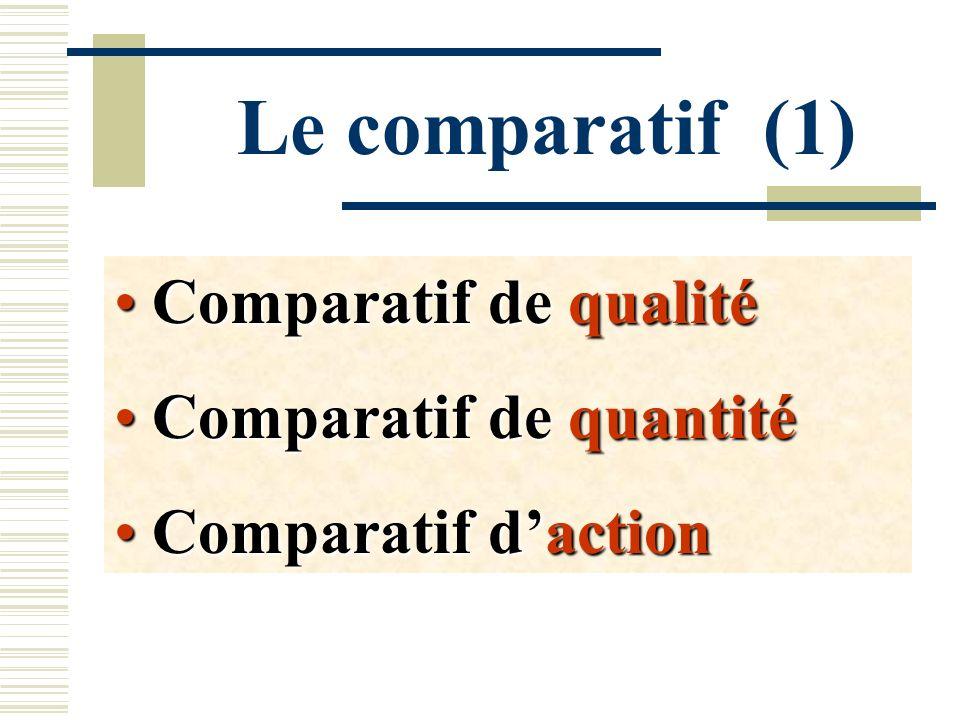 Le comparatif (1) Comparatif de qualité Comparatif de qualité Comparatif de quantité Comparatif de quantité Comparatif daction Comparatif daction