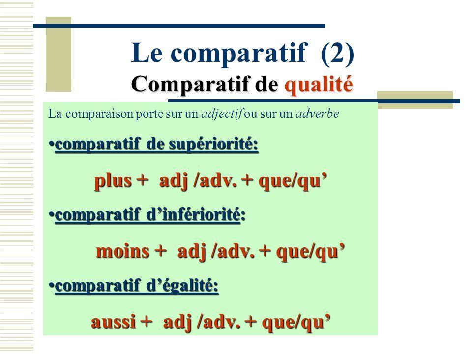 Le comparatif (2) Comparatif de qualité La comparaison porte sur un adjectif ou sur un adverbe comparatif de supériorité:comparatif de supériorité: pl