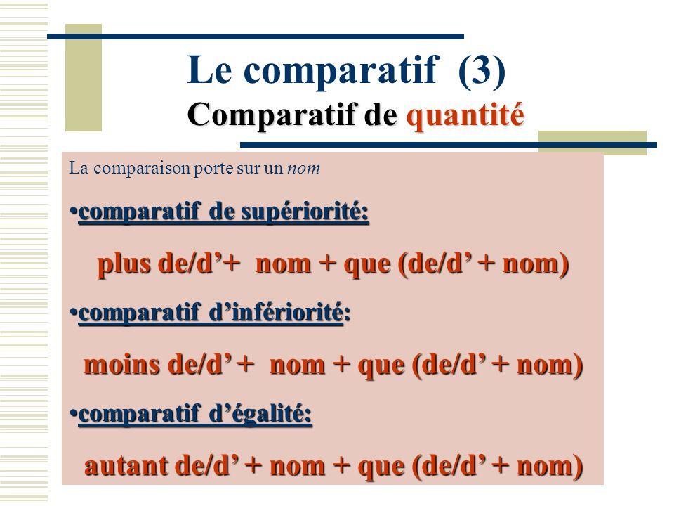 Comparatif de quantité Le comparatif (3) Comparatif de quantité La comparaison porte sur un nom comparatif de supériorité:comparatif de supériorité: p