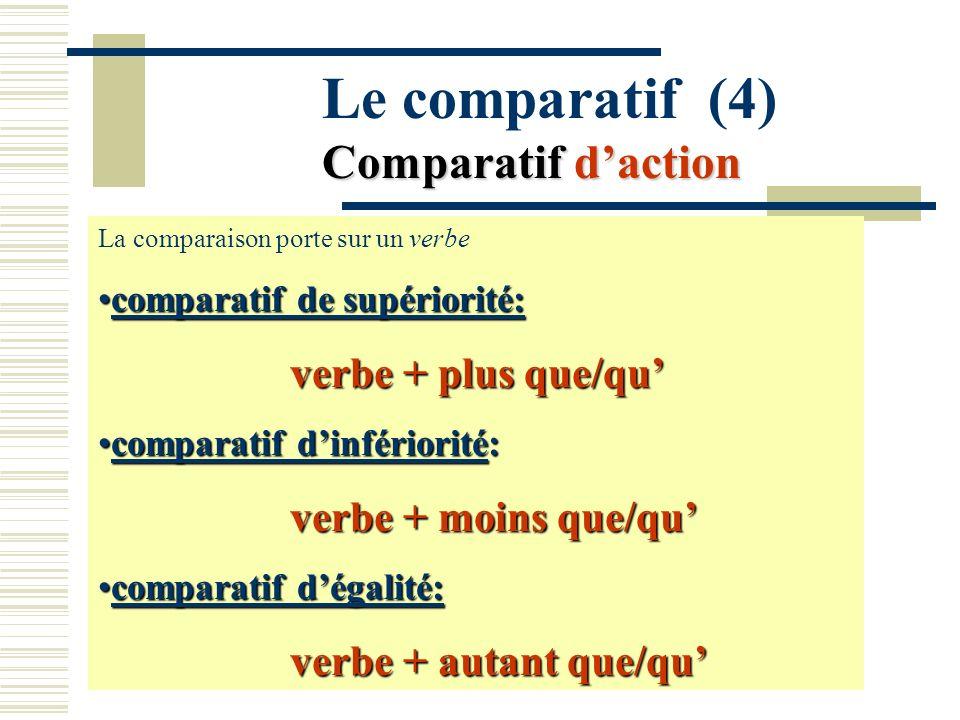 Comparatif daction Le comparatif (4) Comparatif daction La comparaison porte sur un verbe comparatif de supériorité:comparatif de supériorité: verbe +