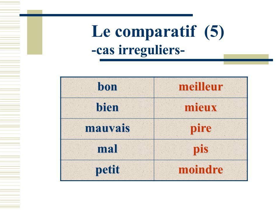 Le comparatif (5) -cas irreguliers- bonmeilleur bienmieux mauvaispire malpis petitmoindre