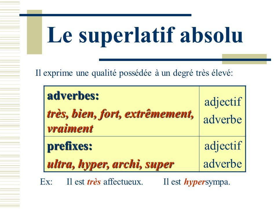 Le superlatif absolu Il exprime une qualité possédée à un degré très élevé: adverbes: très, bien, fort, extrêmement, vraiment adjectif adverbe prefixe