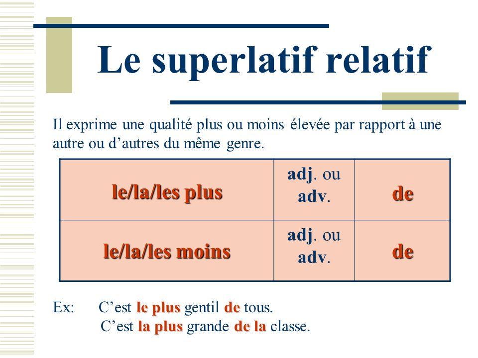 Le superlatif relatif Il exprime une qualité plus ou moins élevée par rapport à une autre ou dautres du même genre. le/la/les plus adj. ou adv.de le/l