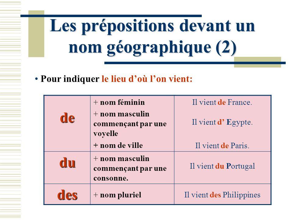Les prépositions devant un nom géographique (2) Pour indiquer le lieu doù lon vient: de + nom féminin + nom masculin commençant par une voyelle + nom