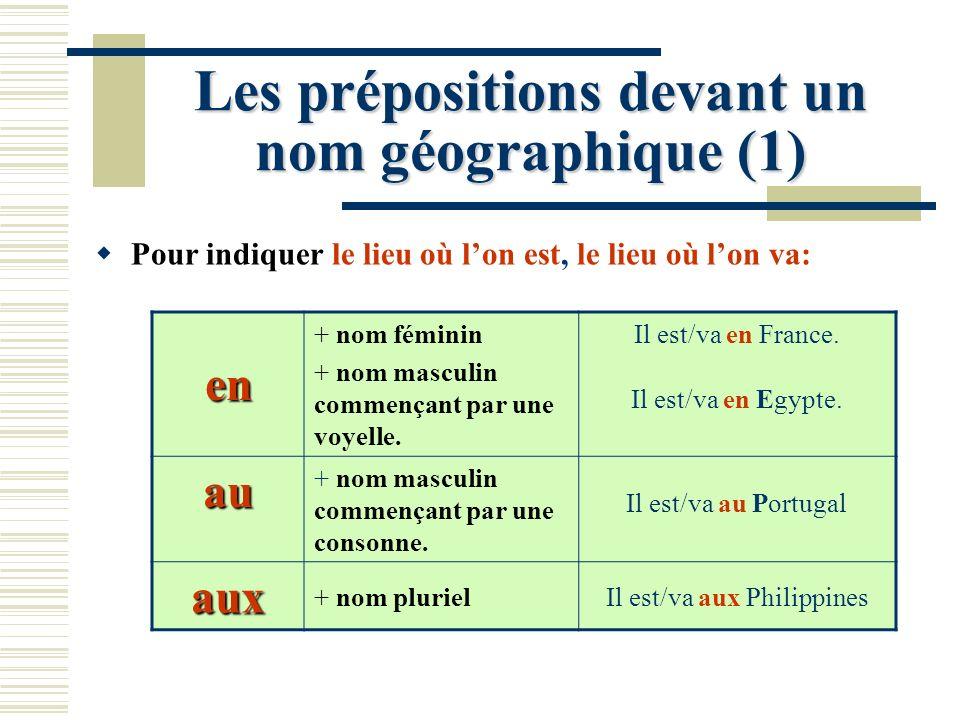 Les prépositions devant un nom géographique (1) Pour indiquer le lieu où lon est, le lieu où lon va: en + nom féminin + nom masculin commençant par un