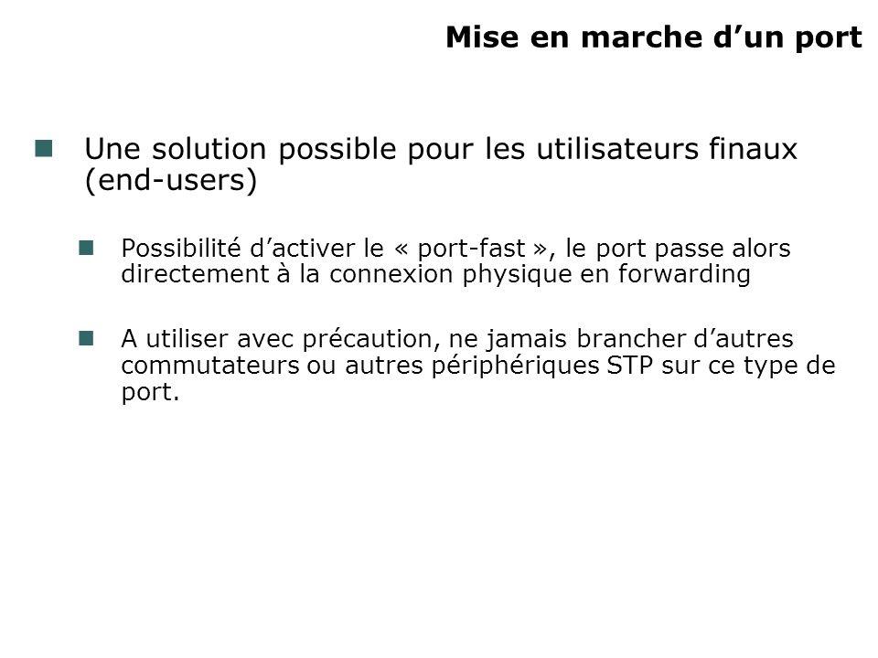 Mise en marche dun port Une solution possible pour les utilisateurs finaux (end-users) Possibilité dactiver le « port-fast », le port passe alors dire