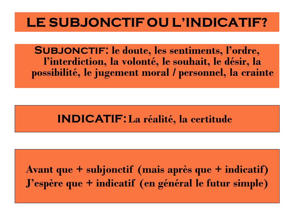 LE SUBJONCTIF OU LINDICATIF? Subjonctif: le doute, les sentiments, lordre, linterdiction, la volonté, le souhait, le désir, la possibilité, le jugemen