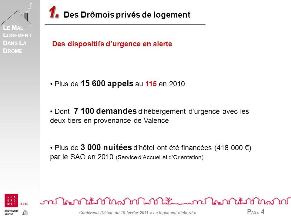 P AGE 4 L E M AL L OGEMENT D ANS L A D ROME Conférence/Débat du 10 février 2011 « Le logement dabord » Des Drômois privés de logement Des dispositifs durgence en alerte Plus de 15 600 appels au 115 en 2010 Dont 7 100 demandes dhébergement durgence avec les deux tiers en provenance de Valence Plus de 3 000 nuitées dhôtel ont été financées (418 000 ) par le SAO en 2010 (Service dAccueil et dOrientation)