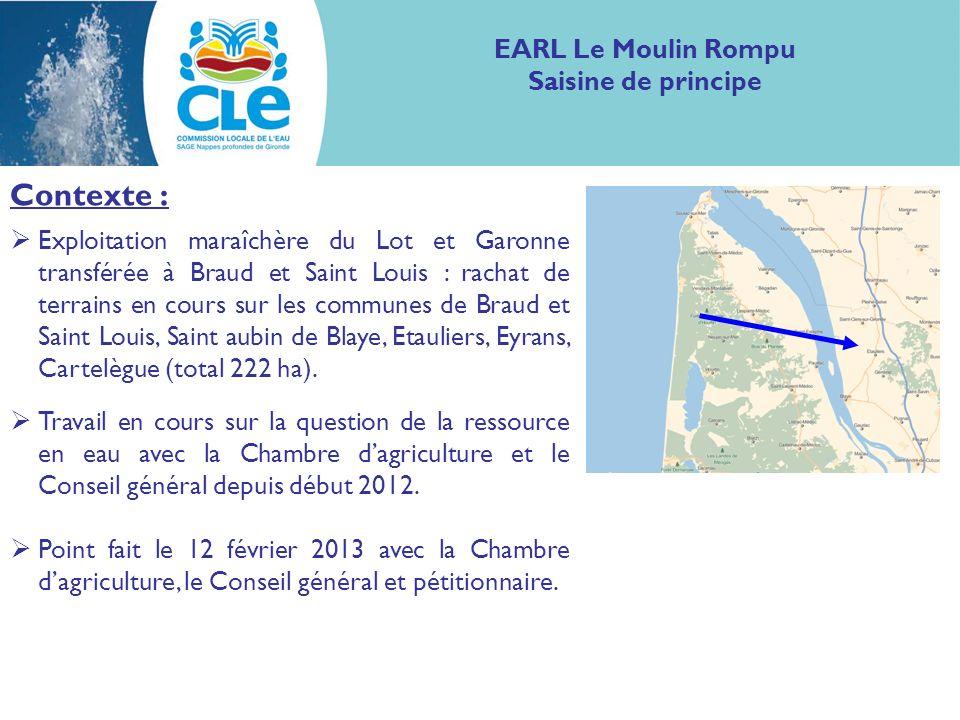 Contexte : Exploitation maraîchère du Lot et Garonne transférée à Braud et Saint Louis : rachat de terrains en cours sur les communes de Braud et Sain