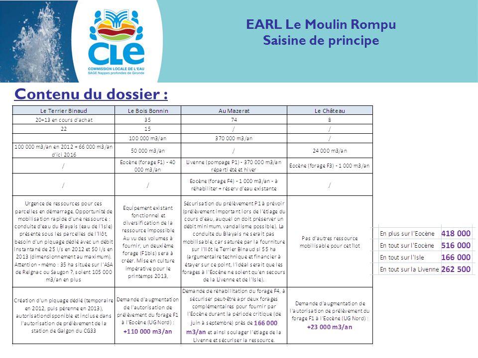 Contenu du dossier : EARL Le Moulin Rompu Saisine de principe