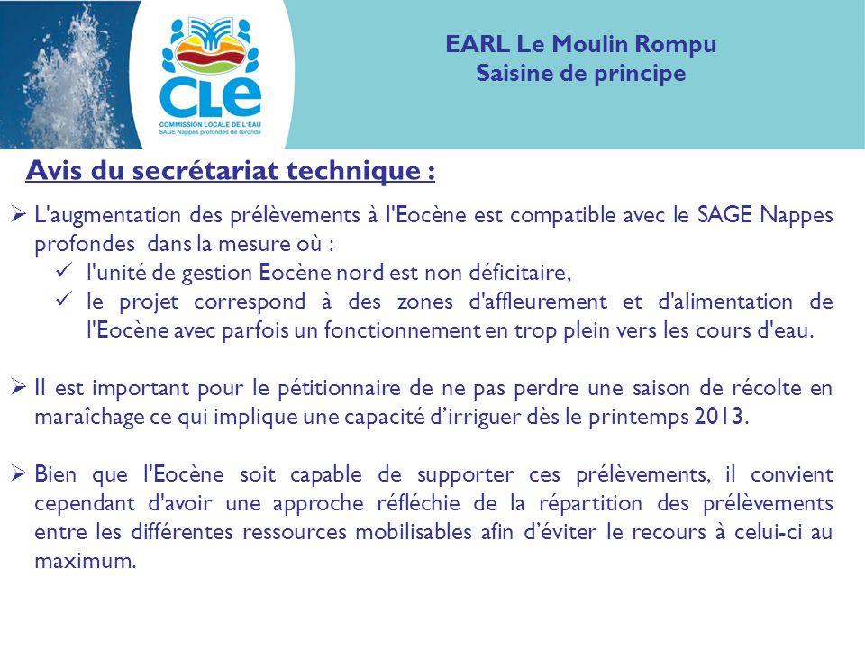 Avis du secrétariat technique : L'augmentation des prélèvements à l'Eocène est compatible avec le SAGE Nappes profondes dans la mesure où : l'unité de