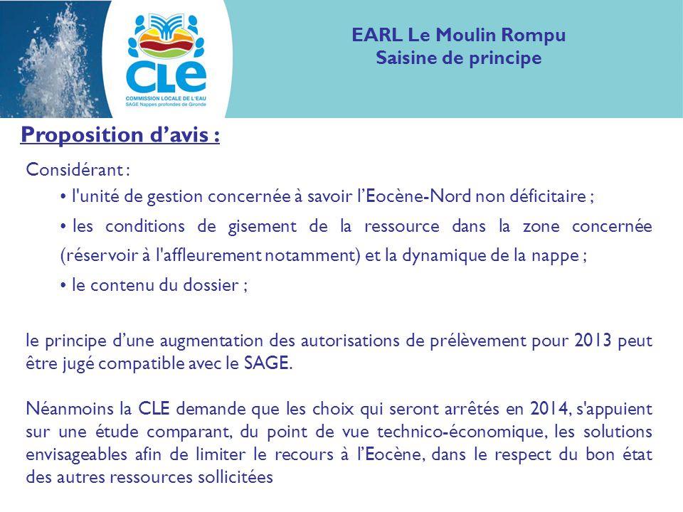 Proposition davis : Considérant : l'unité de gestion concernée à savoir lEocène-Nord non déficitaire ; les conditions de gisement de la ressource dans