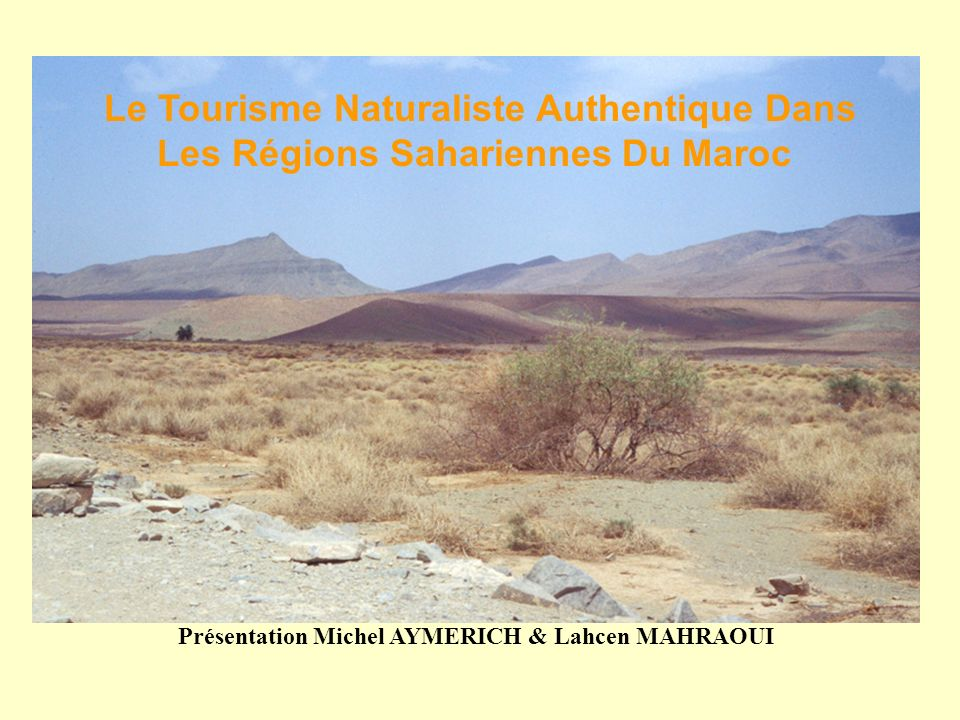 Le but est dencourager les touristes qui se rendent au Maroc à se rendre aussi dans les régions sahariennes dans le cadre dun tourisme naturaliste authentique qui valorise toutes les espèces animales et végétales: