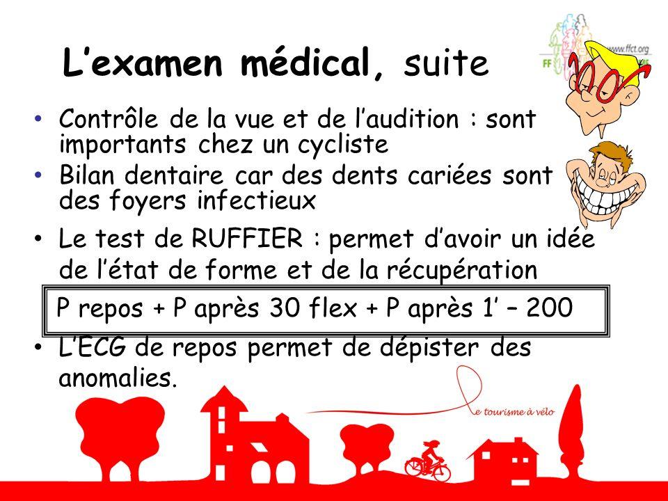 Lexamen médical, suite Contrôle de la vue et de laudition : sont importants chez un cycliste Bilan dentaire car des dents cariées sont des foyers infe