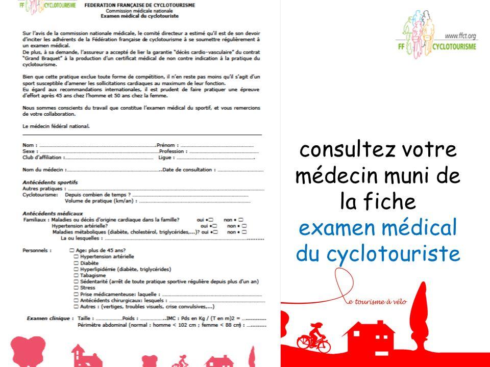 consultez votre médecin muni de la fiche examen médical du cyclotouriste