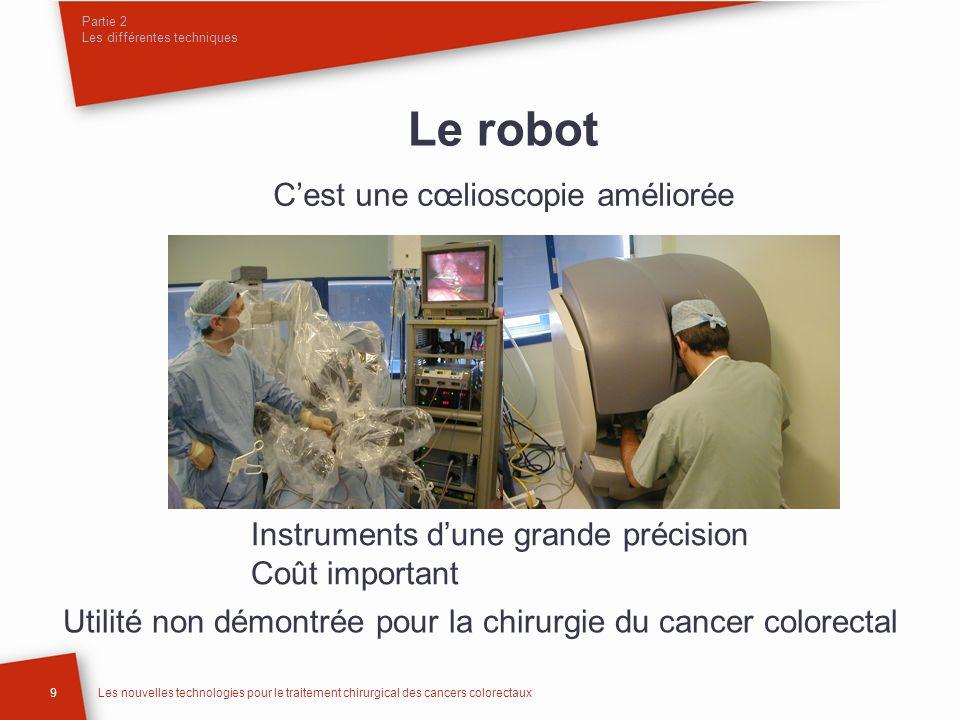Partie 2 Les différentes techniques 9Les nouvelles technologies pour le traitement chirurgical des cancers colorectaux Le robot Cest une cœlioscopie a