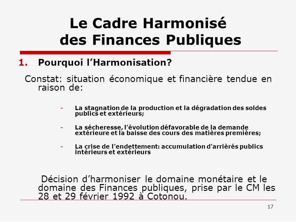 17 Le Cadre Harmonisé des Finances Publiques 1.Pourquoi lHarmonisation? Constat: situation économique et financière tendue en raison de: -La stagnatio