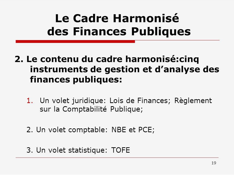 19 Le Cadre Harmonisé des Finances Publiques 2. Le contenu du cadre harmonisé:cinq instruments de gestion et danalyse des finances publiques: 1.Un vol