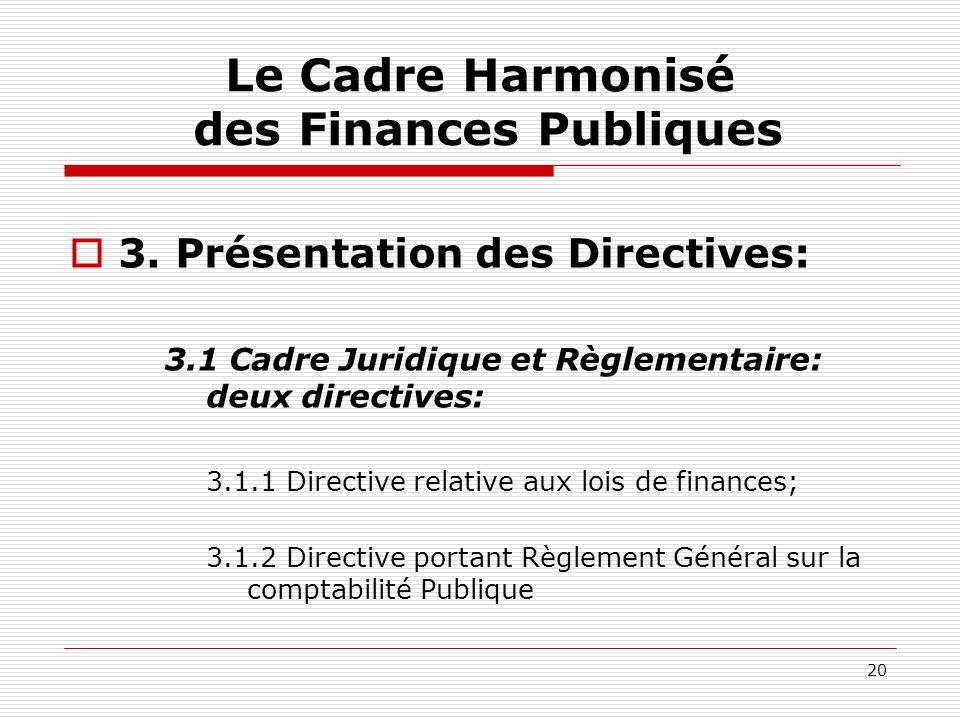 20 Le Cadre Harmonisé des Finances Publiques 3. Présentation des Directives: 3.1 Cadre Juridique et Règlementaire: deux directives: 3.1.1 Directive re