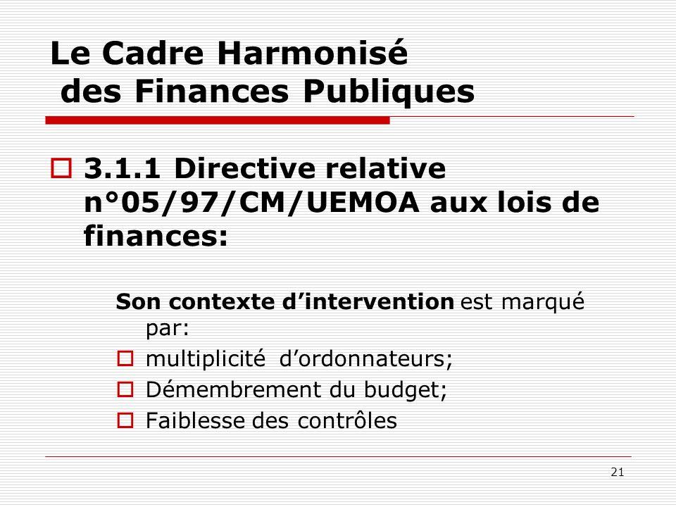 21 Le Cadre Harmonisé des Finances Publiques 3.1.1 Directive relative n°05/97/CM/UEMOA aux lois de finances: Son contexte dintervention est marqué par
