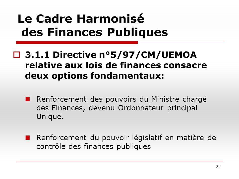 22 Le Cadre Harmonisé des Finances Publiques 3.1.1 Directive n°5/97/CM/UEMOA relative aux lois de finances consacre deux options fondamentaux: Renforc