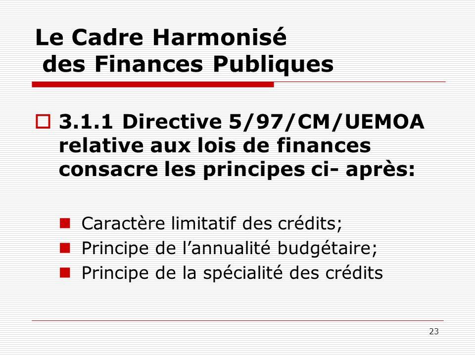 23 Le Cadre Harmonisé des Finances Publiques 3.1.1 Directive 5/97/CM/UEMOA relative aux lois de finances consacre les principes ci- après: Caractère l