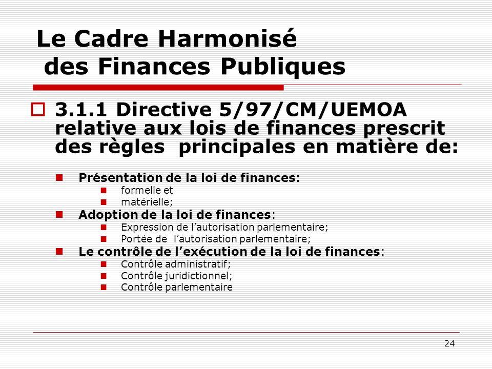 24 Le Cadre Harmonisé des Finances Publiques 3.1.1 Directive 5/97/CM/UEMOA relative aux lois de finances prescrit des règles principales en matière de