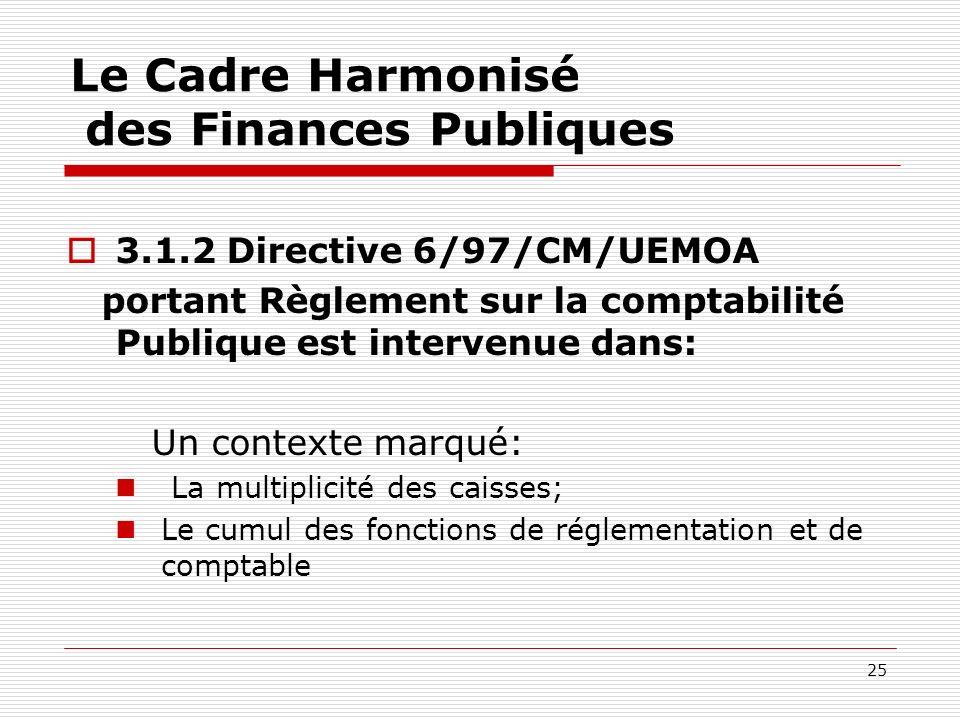 25 Le Cadre Harmonisé des Finances Publiques 3.1.2 Directive 6/97/CM/UEMOA portant Règlement sur la comptabilité Publique est intervenue dans: Un cont