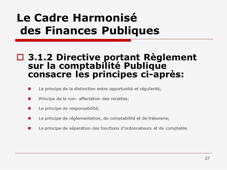 27 Le Cadre Harmonisé des Finances Publiques 3.1.2 Directive portant Règlement sur la comptabilité Publique consacre les principes ci-après: Le princi