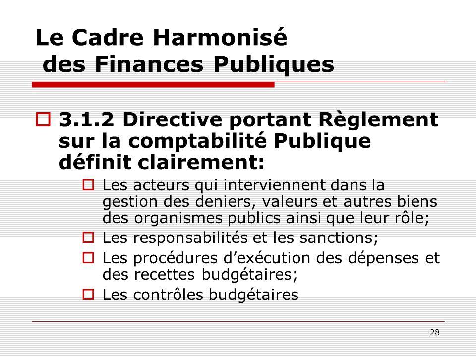 28 Le Cadre Harmonisé des Finances Publiques 3.1.2 Directive portant Règlement sur la comptabilité Publique définit clairement: Les acteurs qui interv