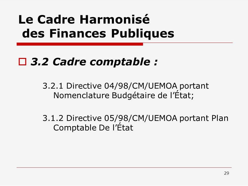 29 Le Cadre Harmonisé des Finances Publiques 3.2 Cadre comptable : 3.2.1 Directive 04/98/CM/UEMOA portant Nomenclature Budgétaire de lÉtat; 3.1.2 Dire