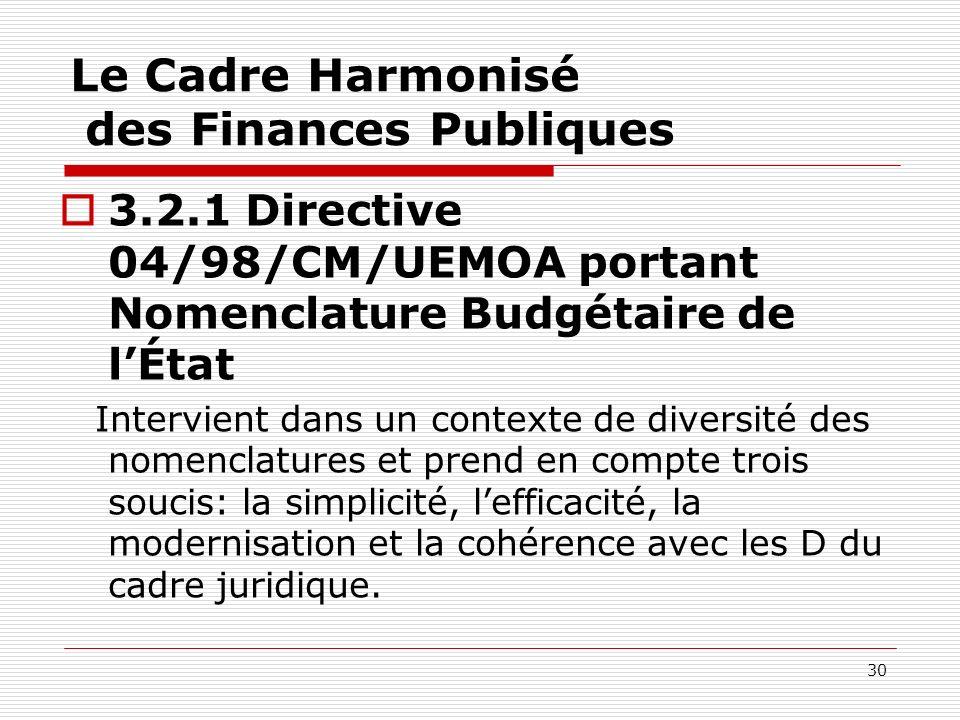 30 Le Cadre Harmonisé des Finances Publiques 3.2.1 Directive 04/98/CM/UEMOA portant Nomenclature Budgétaire de lÉtat Intervient dans un contexte de di