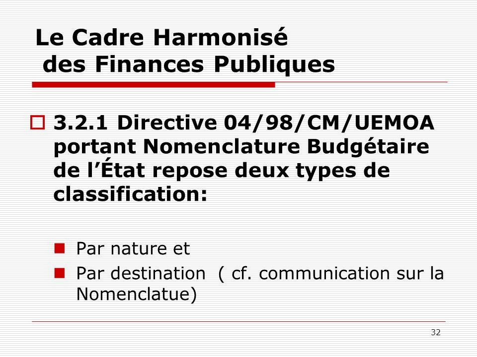 32 Le Cadre Harmonisé des Finances Publiques 3.2.1 Directive 04/98/CM/UEMOA portant Nomenclature Budgétaire de lÉtat repose deux types de classificati