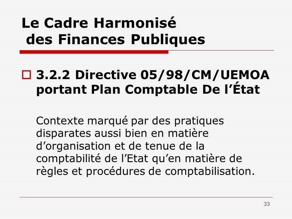 33 Le Cadre Harmonisé des Finances Publiques 3.2.2 Directive 05/98/CM/UEMOA portant Plan Comptable De lÉtat Contexte marqué par des pratiques disparat