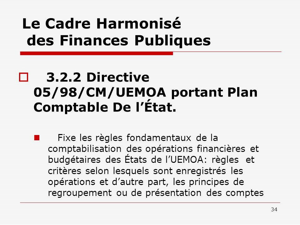 34 Le Cadre Harmonisé des Finances Publiques 3.2.2 Directive 05/98/CM/UEMOA portant Plan Comptable De lÉtat. Fixe les règles fondamentaux de la compta