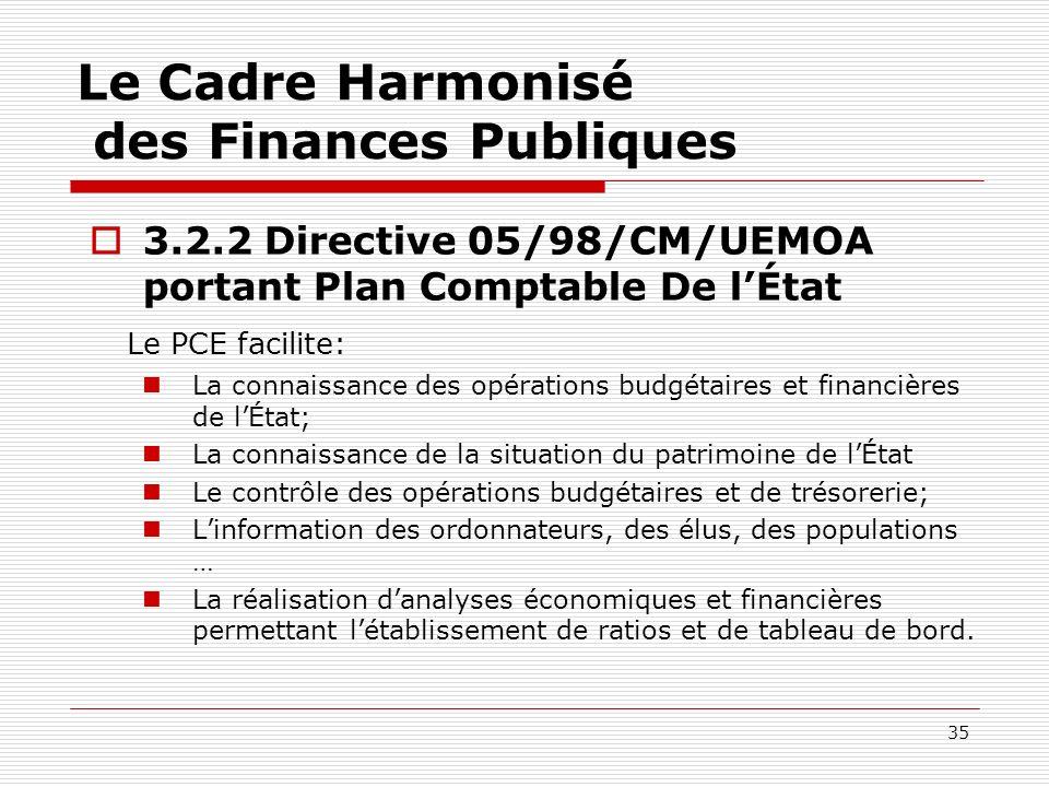 35 Le Cadre Harmonisé des Finances Publiques 3.2.2 Directive 05/98/CM/UEMOA portant Plan Comptable De lÉtat Le PCE facilite: La connaissance des opéra