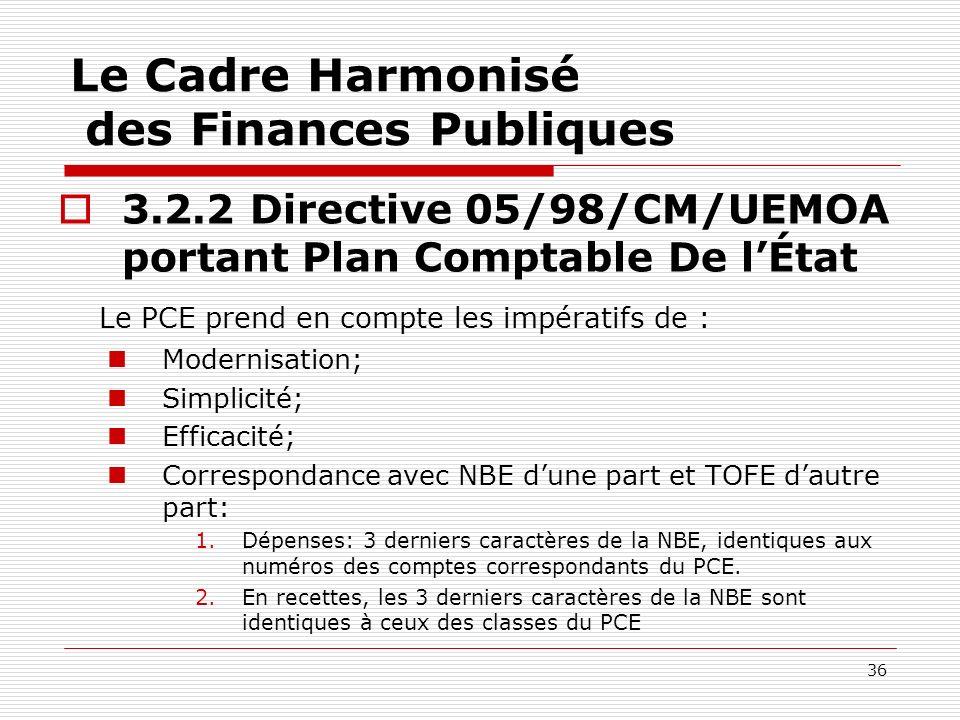 36 Le Cadre Harmonisé des Finances Publiques 3.2.2 Directive 05/98/CM/UEMOA portant Plan Comptable De lÉtat Le PCE prend en compte les impératifs de :