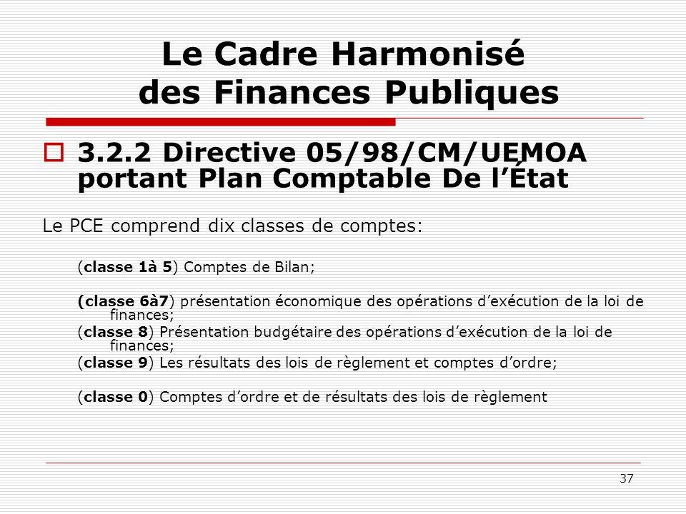 37 Le Cadre Harmonisé des Finances Publiques 3.2.2 Directive 05/98/CM/UEMOA portant Plan Comptable De lÉtat Le PCE comprend dix classes de comptes: (c