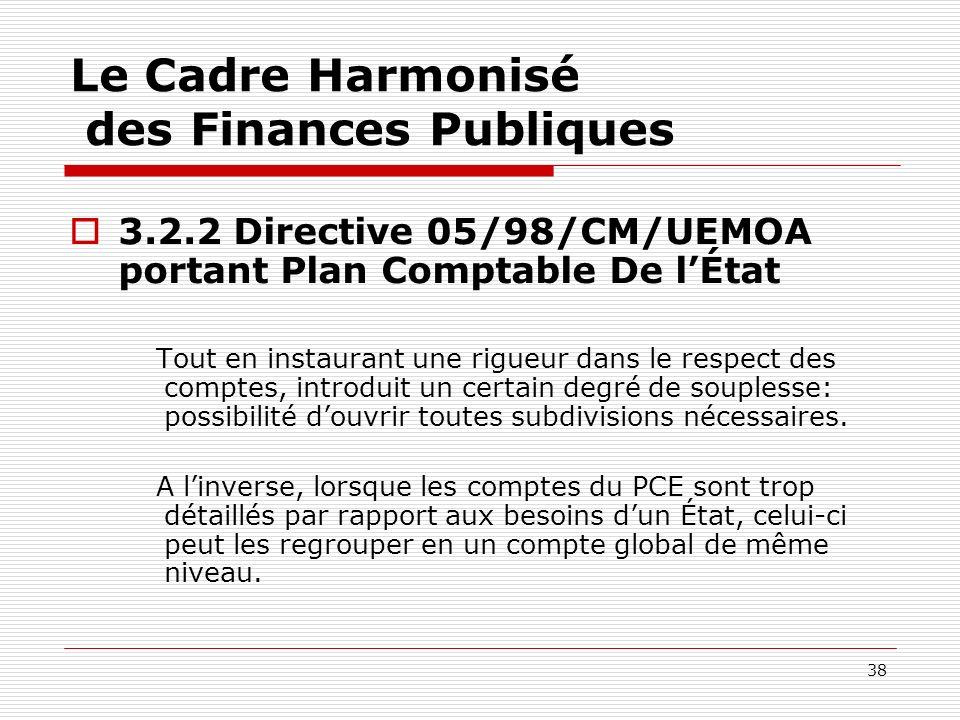 38 Le Cadre Harmonisé des Finances Publiques 3.2.2 Directive 05/98/CM/UEMOA portant Plan Comptable De lÉtat Tout en instaurant une rigueur dans le res