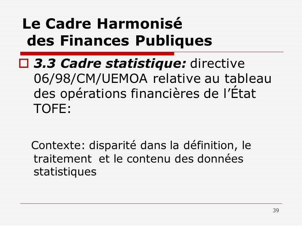 39 Le Cadre Harmonisé des Finances Publiques 3.3 Cadre statistique: directive 06/98/CM/UEMOA relative au tableau des opérations financières de lÉtat T