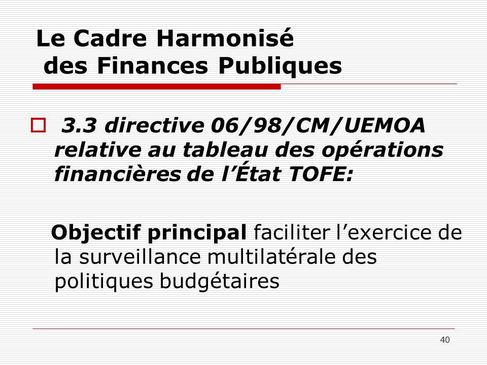 40 Le Cadre Harmonisé des Finances Publiques 3.3 directive 06/98/CM/UEMOA relative au tableau des opérations financières de lÉtat TOFE: Objectif princ