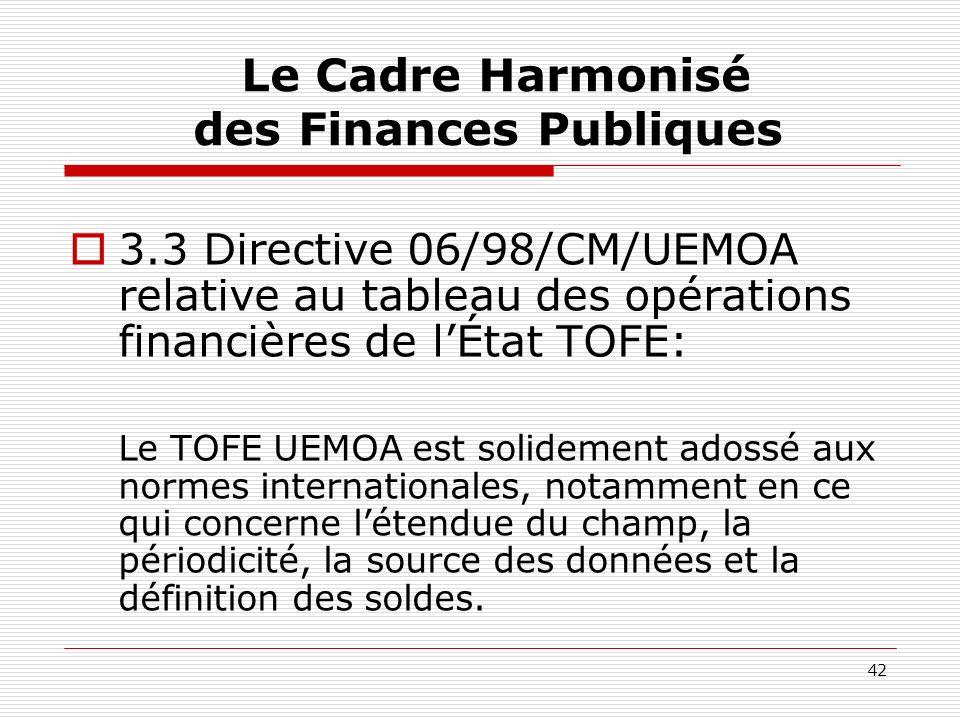 42 Le Cadre Harmonisé des Finances Publiques 3.3 Directive 06/98/CM/UEMOA relative au tableau des opérations financières de lÉtat TOFE: Le TOFE UEMOA