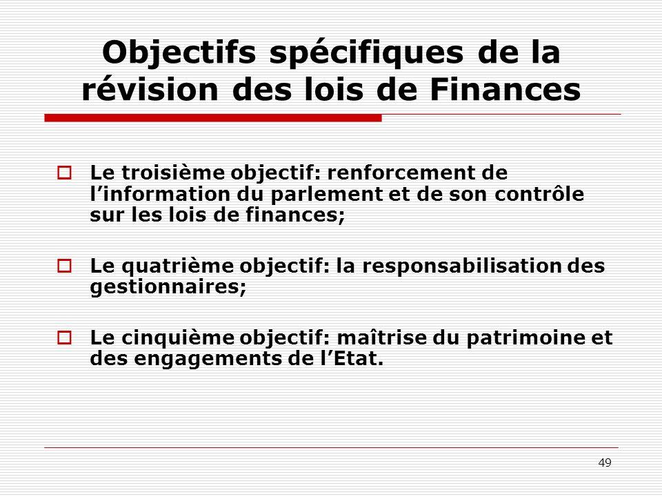 49 Objectifs spécifiques de la révision des lois de Finances Le troisième objectif: renforcement de linformation du parlement et de son contrôle sur l