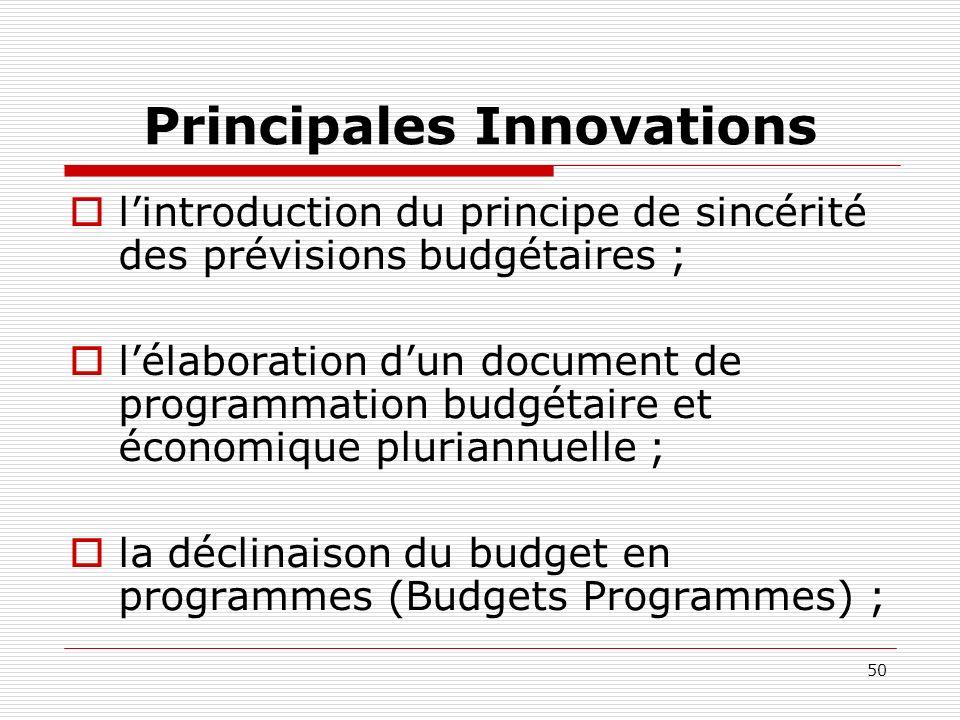 50 Principales Innovations lintroduction du principe de sincérité des prévisions budgétaires ; lélaboration dun document de programmation budgétaire e