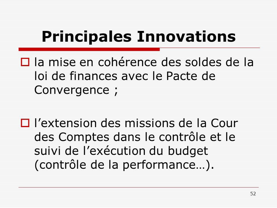 52 Principales Innovations la mise en cohérence des soldes de la loi de finances avec le Pacte de Convergence ; lextension des missions de la Cour des