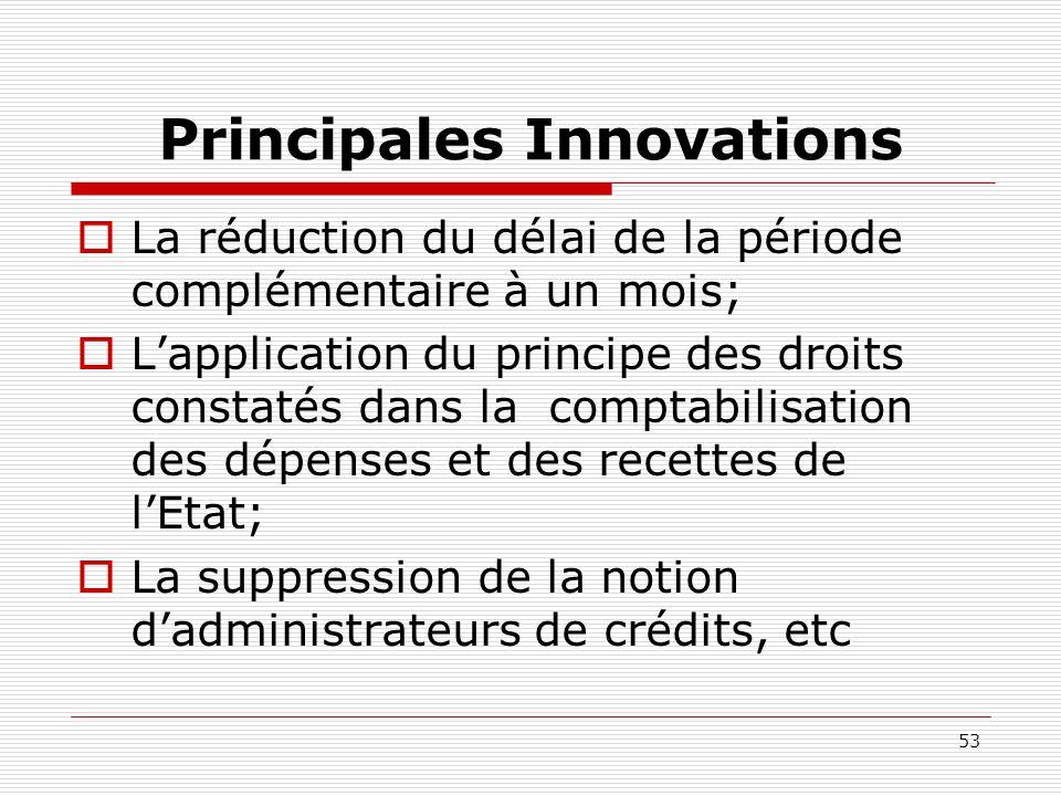 53 Principales Innovations La réduction du délai de la période complémentaire à un mois; Lapplication du principe des droits constatés dans la comptab