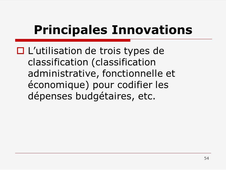 54 Principales Innovations Lutilisation de trois types de classification (classification administrative, fonctionnelle et économique) pour codifier le