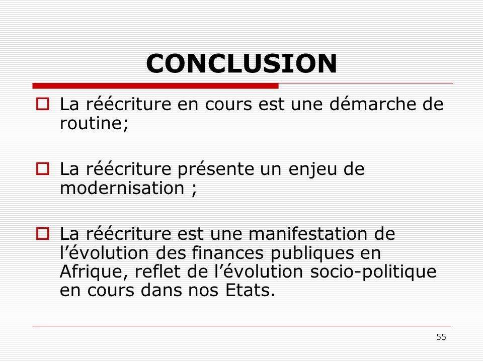 55 CONCLUSION La réécriture en cours est une démarche de routine; La réécriture présente un enjeu de modernisation ; La réécriture est une manifestati