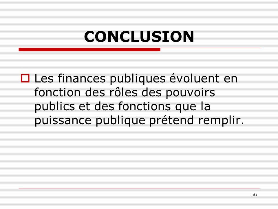 56 CONCLUSION Les finances publiques évoluent en fonction des rôles des pouvoirs publics et des fonctions que la puissance publique prétend remplir.