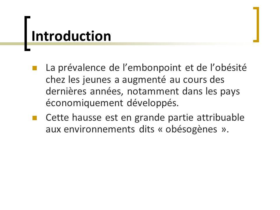 Introduction La prévalence de lembonpoint et de lobésité chez les jeunes a augmenté au cours des dernières années, notamment dans les pays économiquem